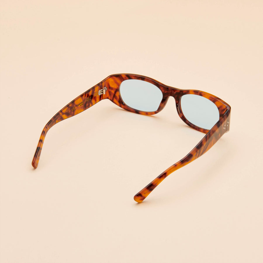 Tangerine | Light Tortoise Acetate | Blue Lens