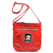Betty Boop Embossed Print Rhinestone Cross Body Purse