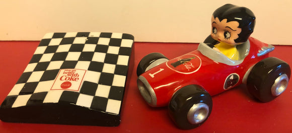 Betty Boop Coca Cola Racing Car Salt & Pepper Shaker