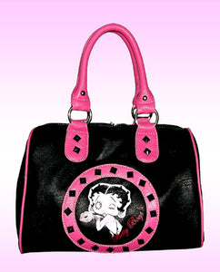Betty Boop Satchel Bag Black and Pink