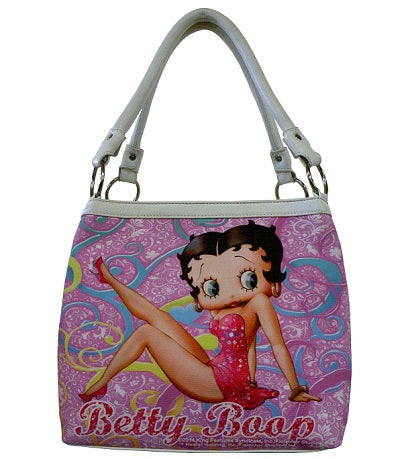 Licensed Betty Boop Medium Tote Pink/White