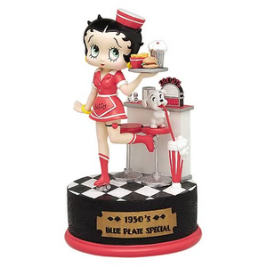 Betty Boop Blue Plate Special 1950's Musical Figurine  (Retired)