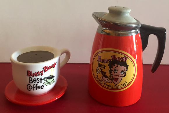 Betty Boop Coffee Salt and Pepper Shakers  (Retired)