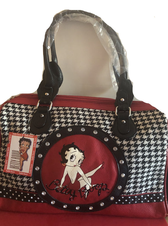 Betty Boop Red and Black Rhinestone Purse