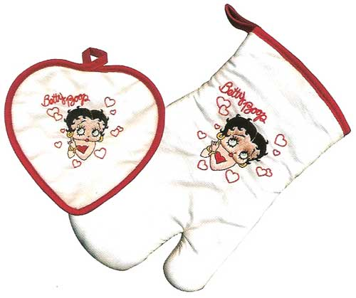 Product Image Betty Boop Hearts, 2-Piece Oven/Mitt Potholder Set