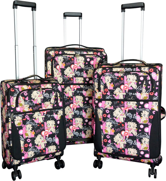 Betty Boop Biker 3 piece 4 Wheel Rolling Suitcase Set
