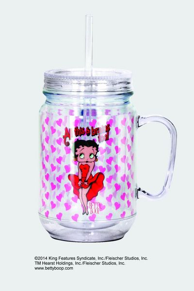 BETTY BOOP BRAINS MASON JAR
