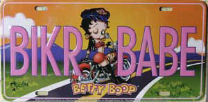 Product Image Betty Boop Biker Babe License Plate
