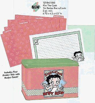 Betty Boop Kiss The Cook Recipe Box with Cards