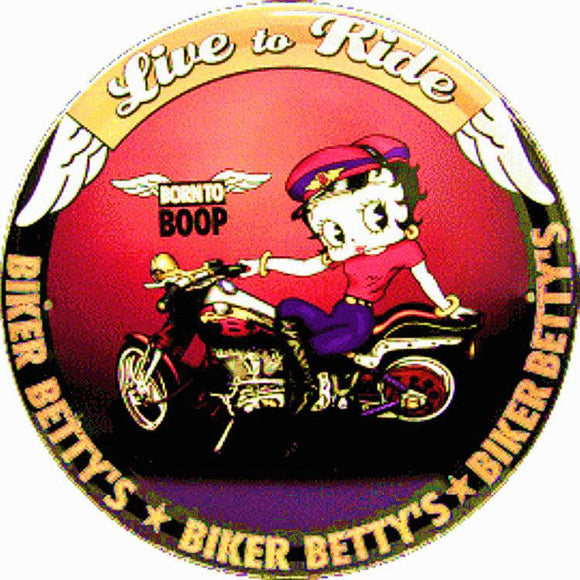 Betty Boop Live to Ride Biker Betty Metal Sign