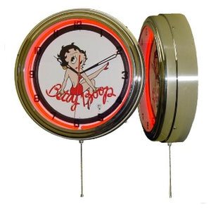 Product Image Betty Boop Red Neon Clock with Chrome Houseing Case