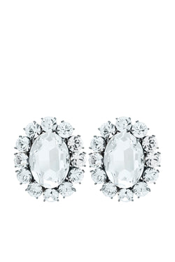 Ninon Oval Diamond Crystal Earrings