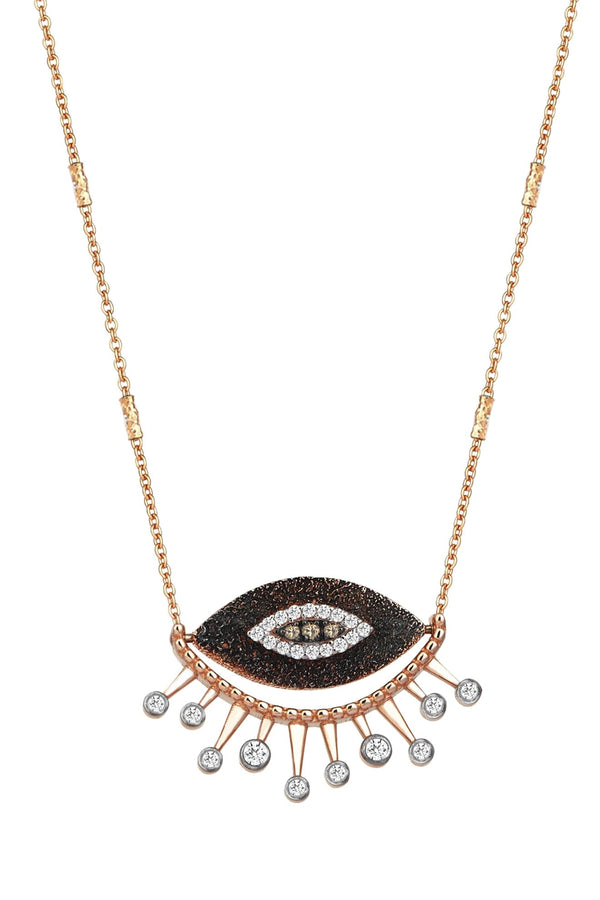 10 Th Eye Eternal Vision Necklace In White And Champagne Diamond - Maison Orient