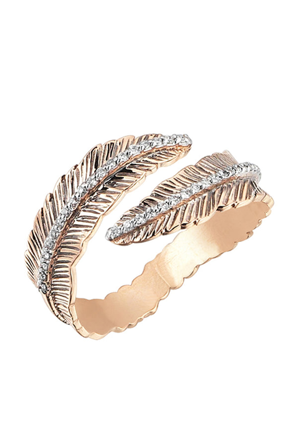 Double Row Feather Ring