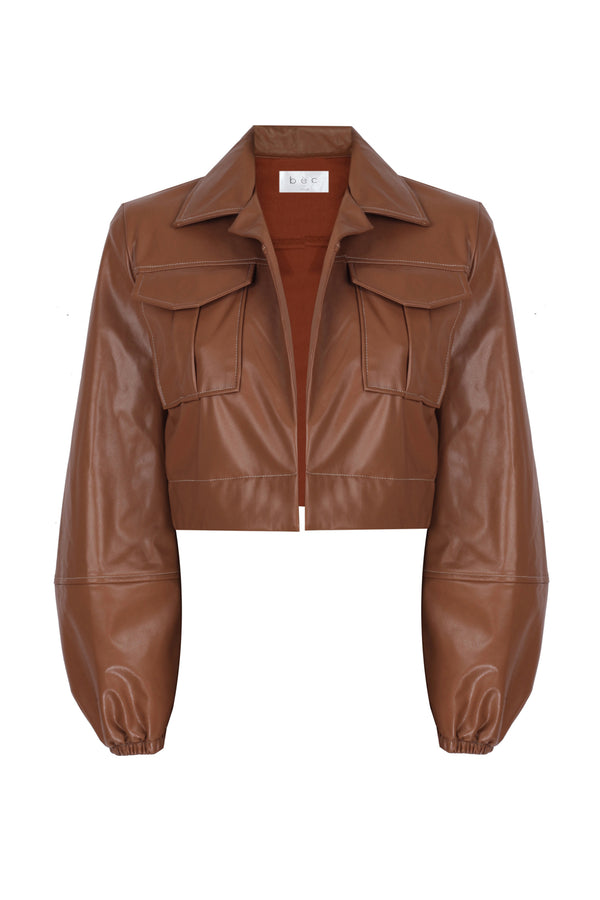 Faux Leather Safari Jacket