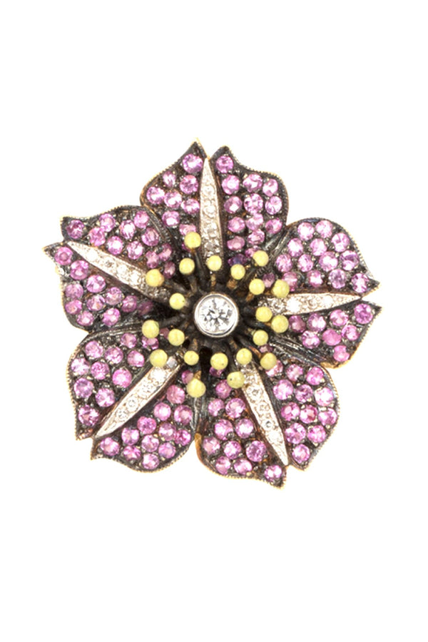 BLOOM RING WITH DIAMONDS & PINK SAPPHIRE