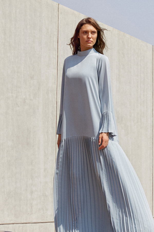 PLEATED HIGH NECK DRESS
