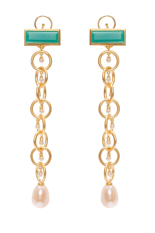 Ammanii Drop Links Earrings Vermeil Gold with Chrysoprase and Pearls