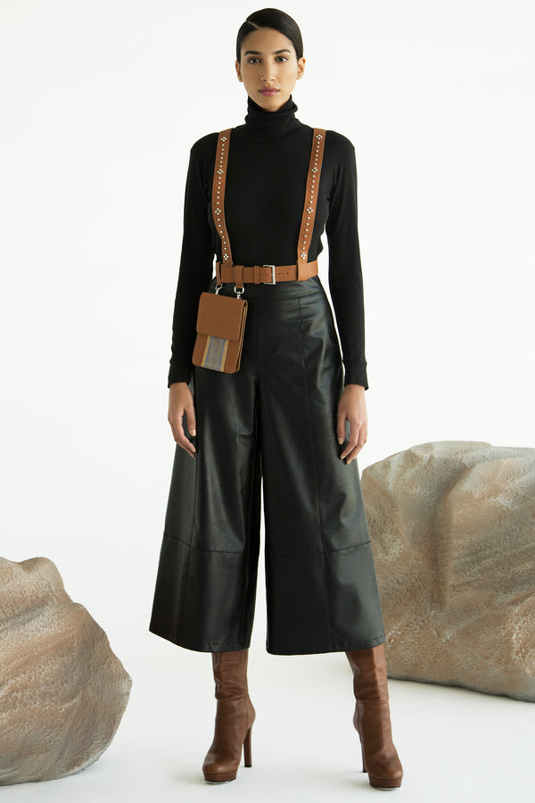 Wide 3/4 Leather Pants - Maison Orient