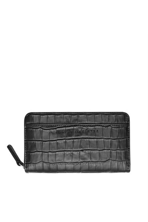 Crocodile Textured Black Zip Wallet