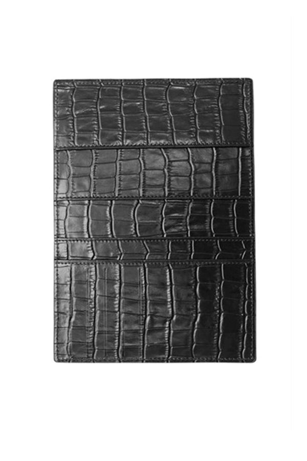 Black Crocodile Textured Passport Holder