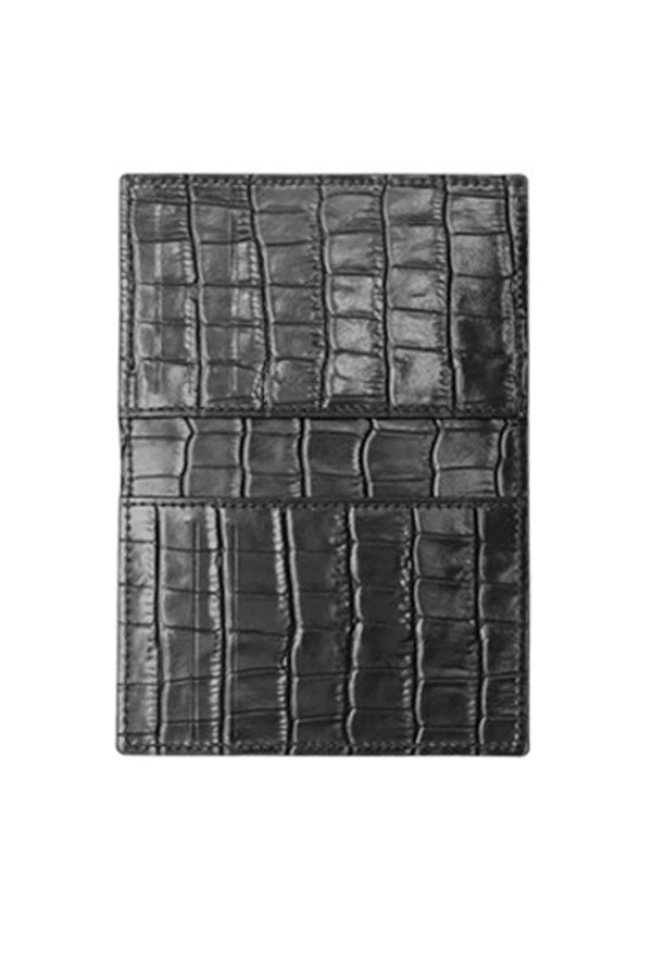 Card Holder with Crocodile Textured Black Cover