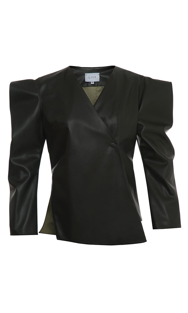 FAUX LEATHER BLAZER WITH POINTED SHOULDERS - Maison Orient