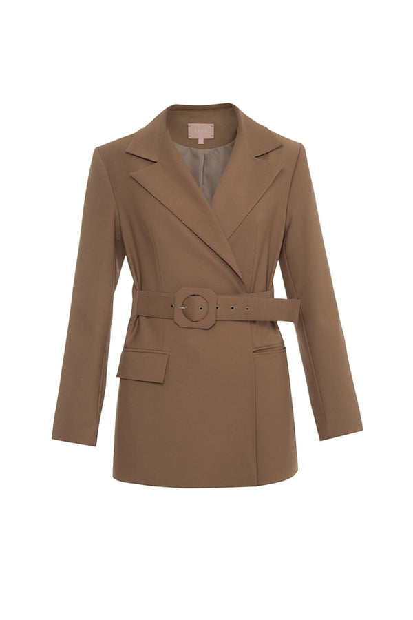 Blazer With Attached Belt - Maison Orient
