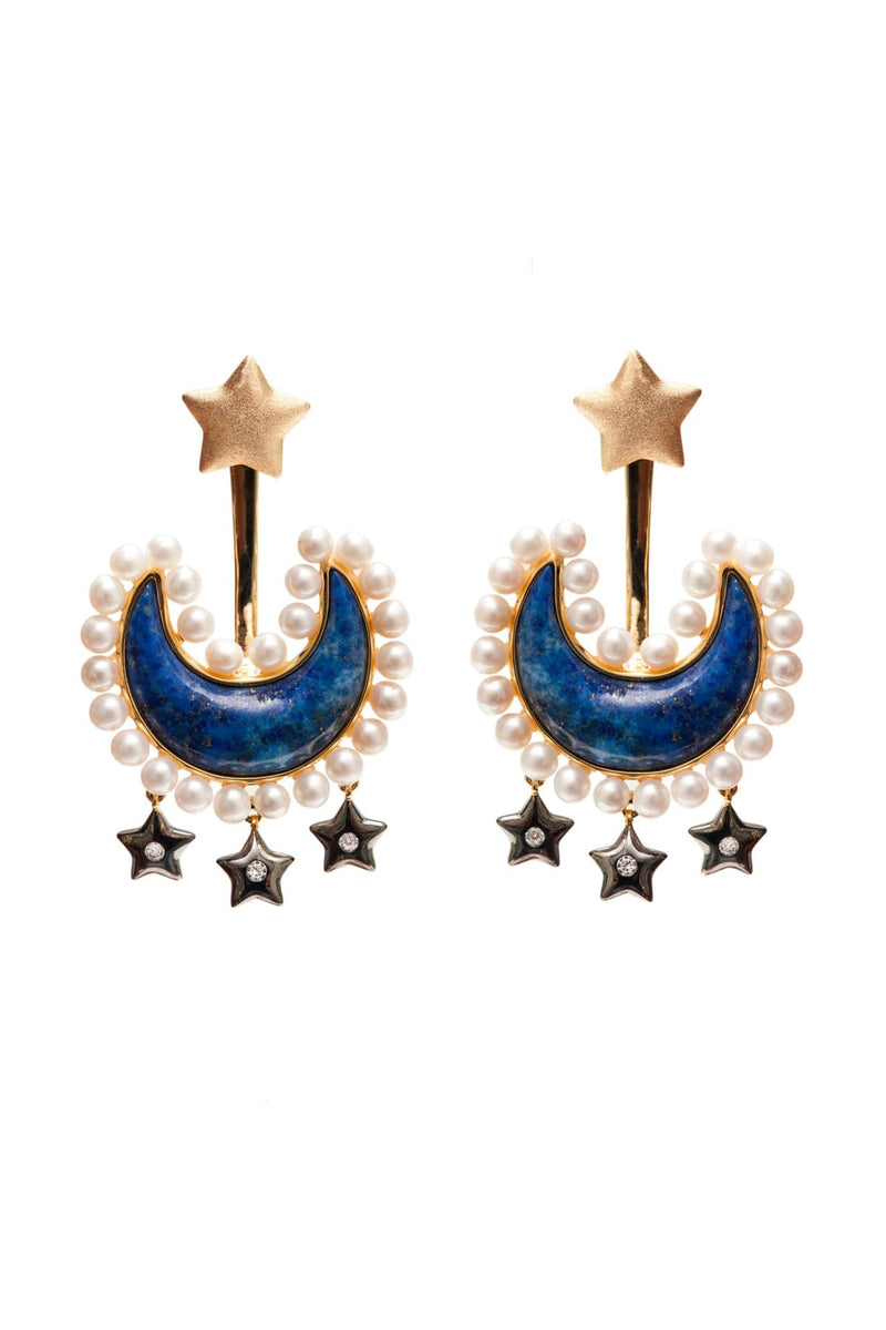 Blue Lapis Lazuli Moon Jacket Earrings With Pearls Stars Charms Vermeil Gold - Maison Orient