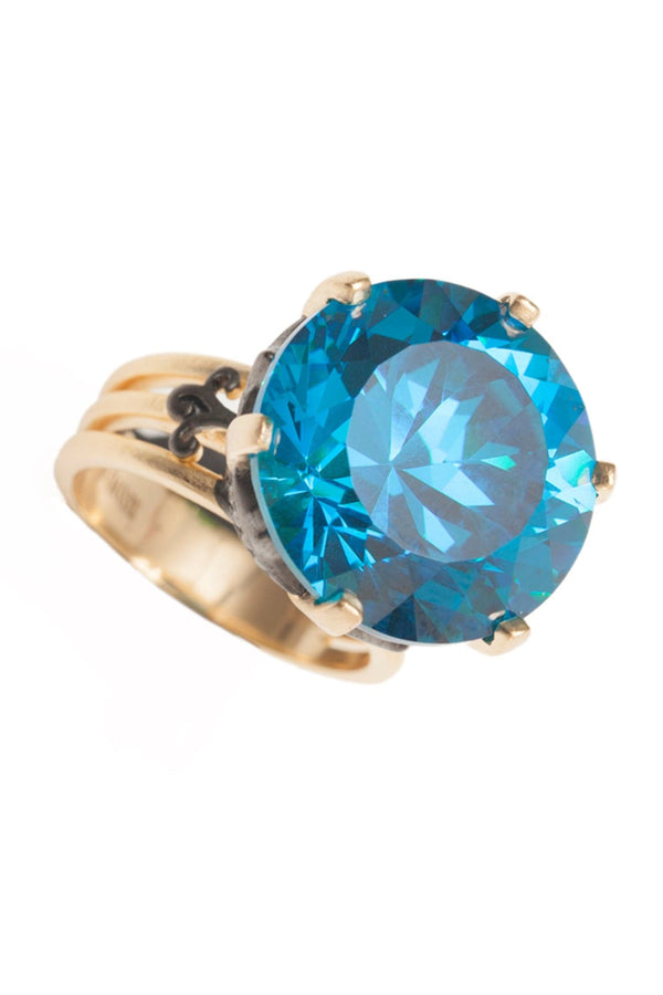 Blue Topaz Statement Ring Vermeil Gold - Maison Orient