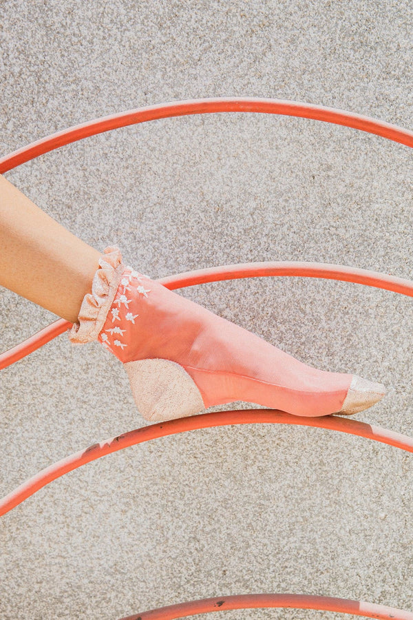 Coral Tulle Ankle Socks With Beaded Flowers Glitter On Bottom And Toes - Maison Orient