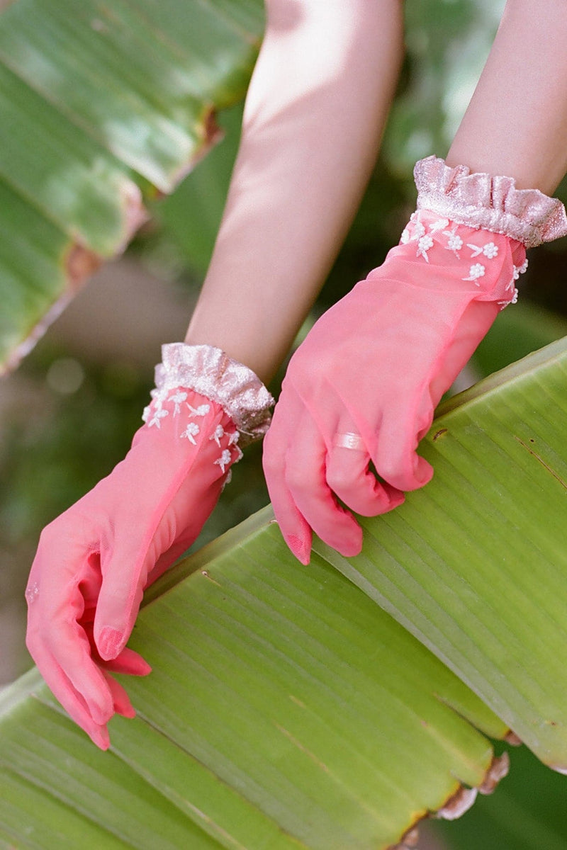 Coral Tulle Short Gloves With Beading Glittery Ruffles - Maison Orient