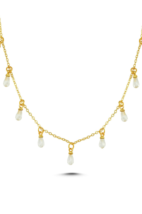 DROP CRYSTAL NECKLACE-WHITE