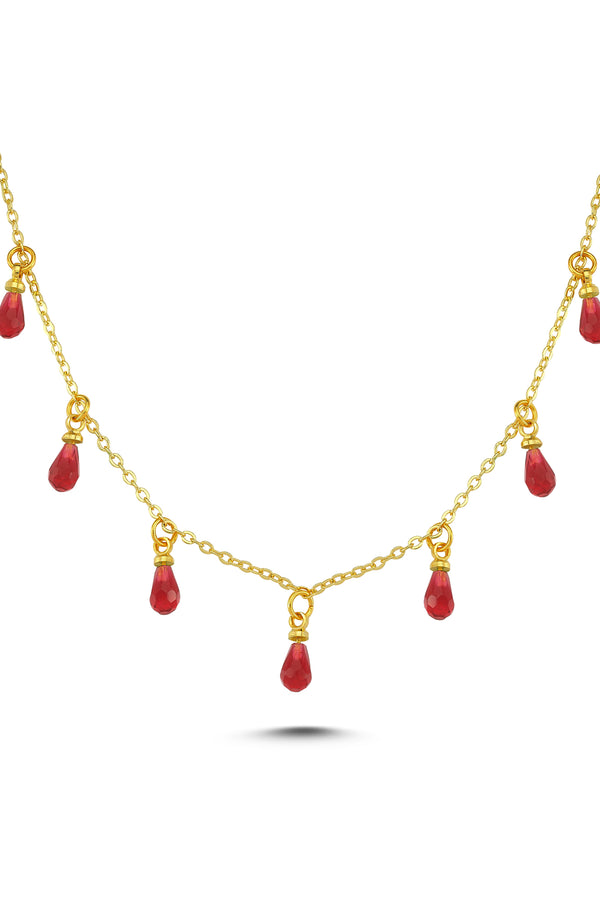 DROP CRYSTAL NECKLACE-RED