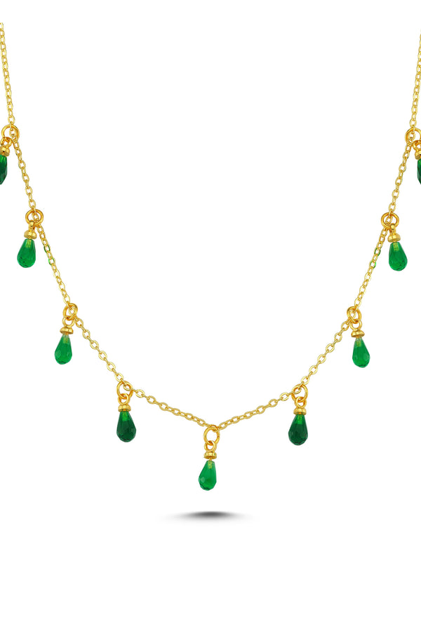 DROP CRYSTAL NECKLACE-GREEN