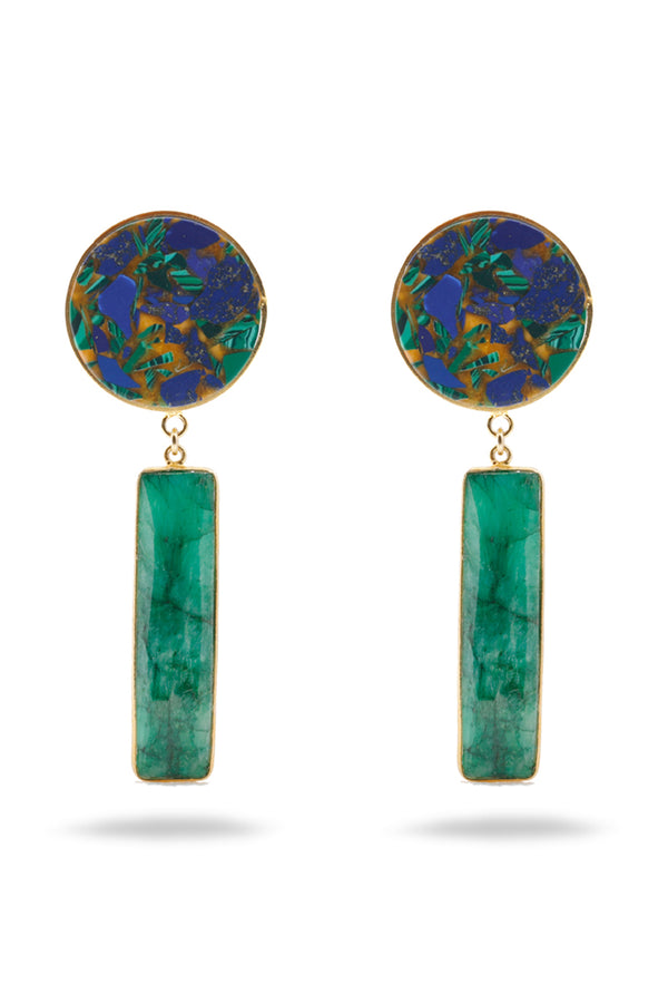 Chrysocolla and green Agate earrings