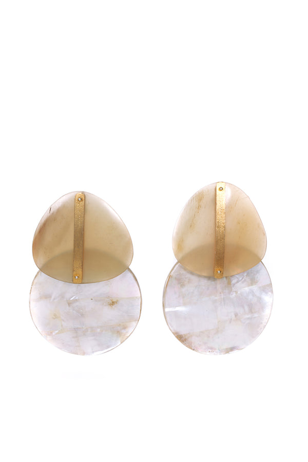 Mother of Pearls and Buffalo Horn round earrings - BIG size