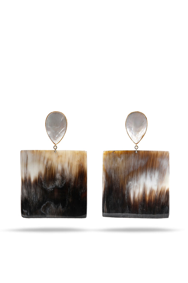 Mother of Pearls and Buffalo Horn square earrings
