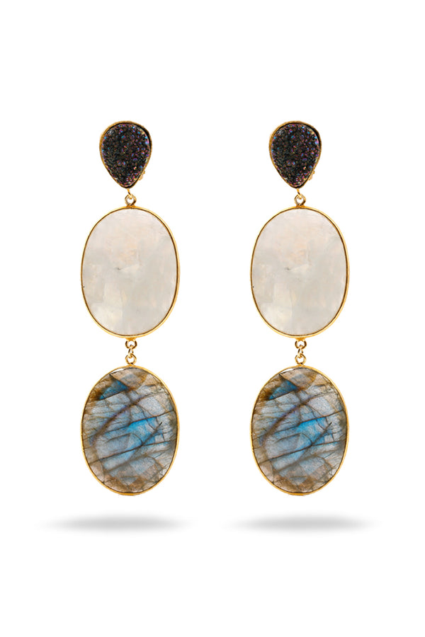 Labradorine, Moonstone and Agate Druzy earrings