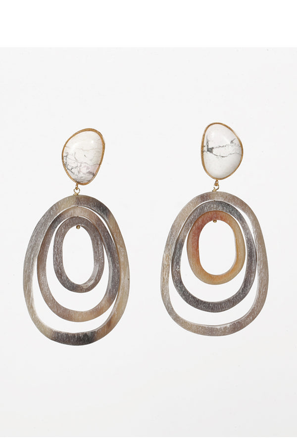 Howlite and Buffalo Horn earrings
