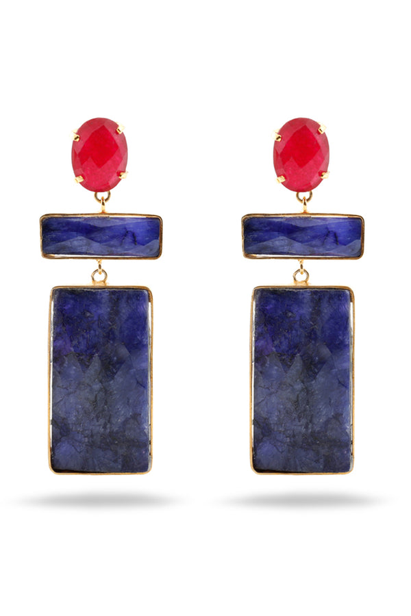 Lapis Lazuli and red Agate earrings