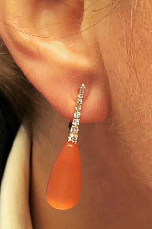 ECCE LE BON BON ORANGE CAT EYE & DIAMOND EARRING