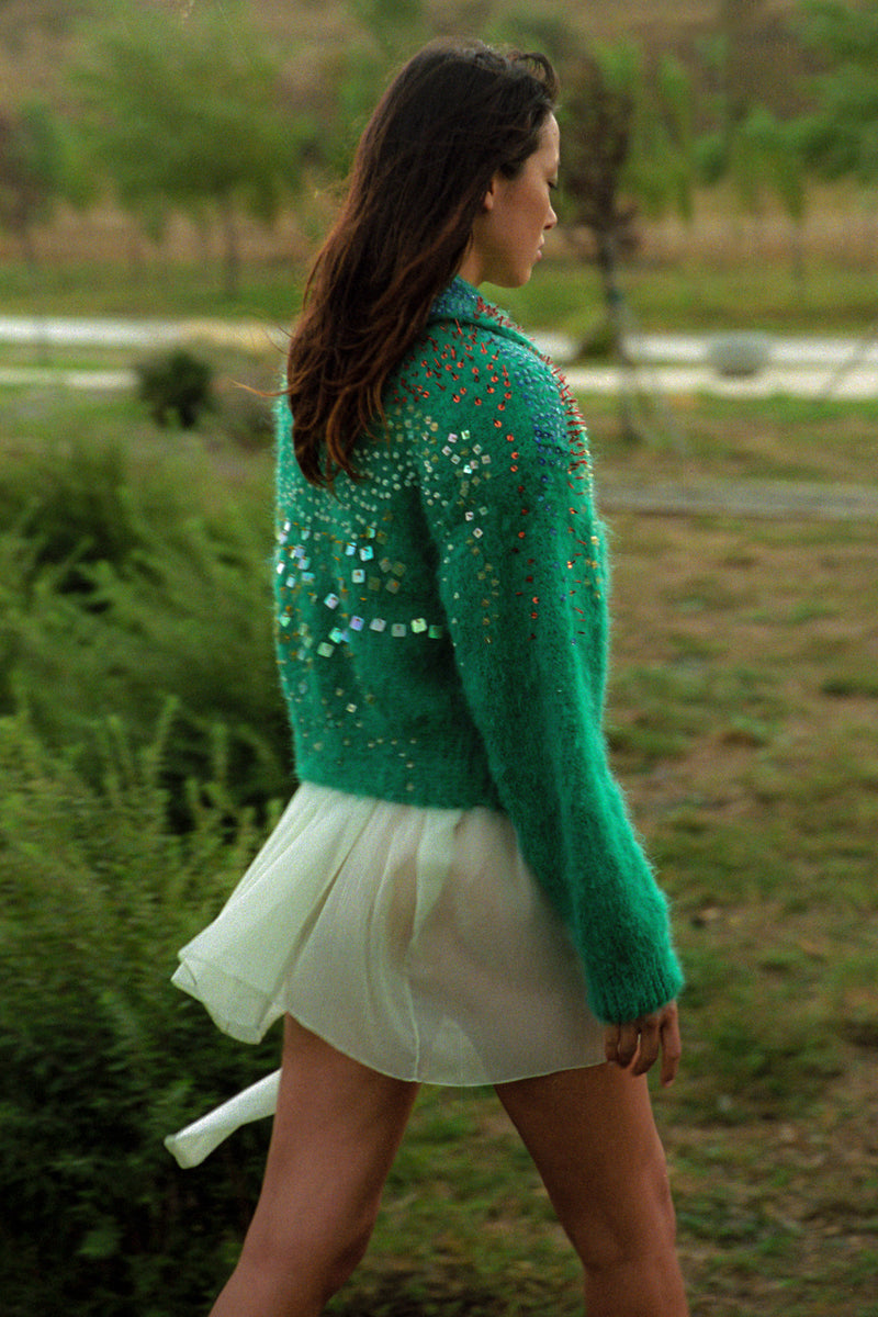 Green cardigan with beads