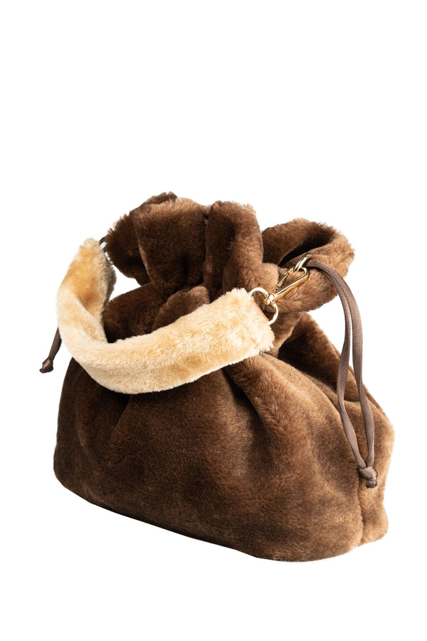 BROWN FURRY POTLI HANDBAG