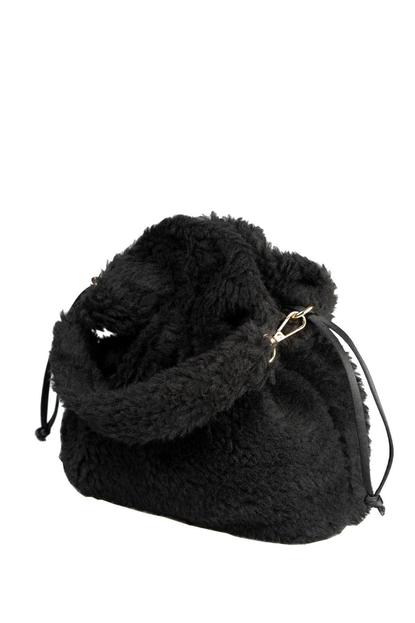 BLACK FURRY POTLI HANDBAG