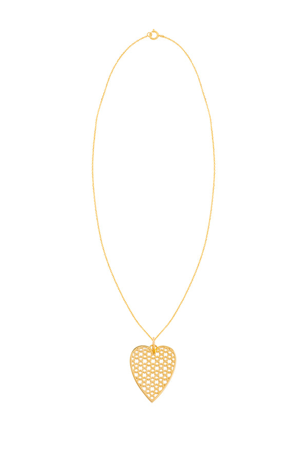 Gold Heart Pendant With Chain - Maison Orient