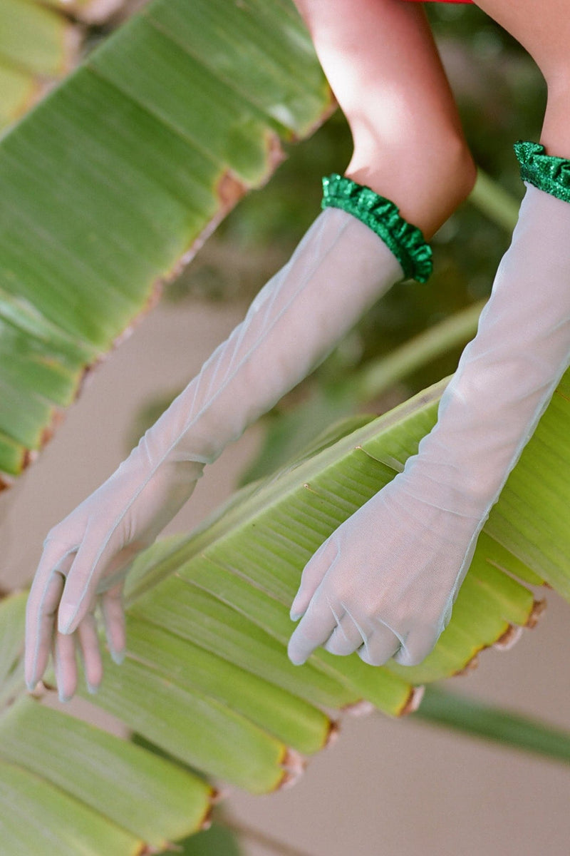 Green Long Gloves W Ruffles - Maison Orient