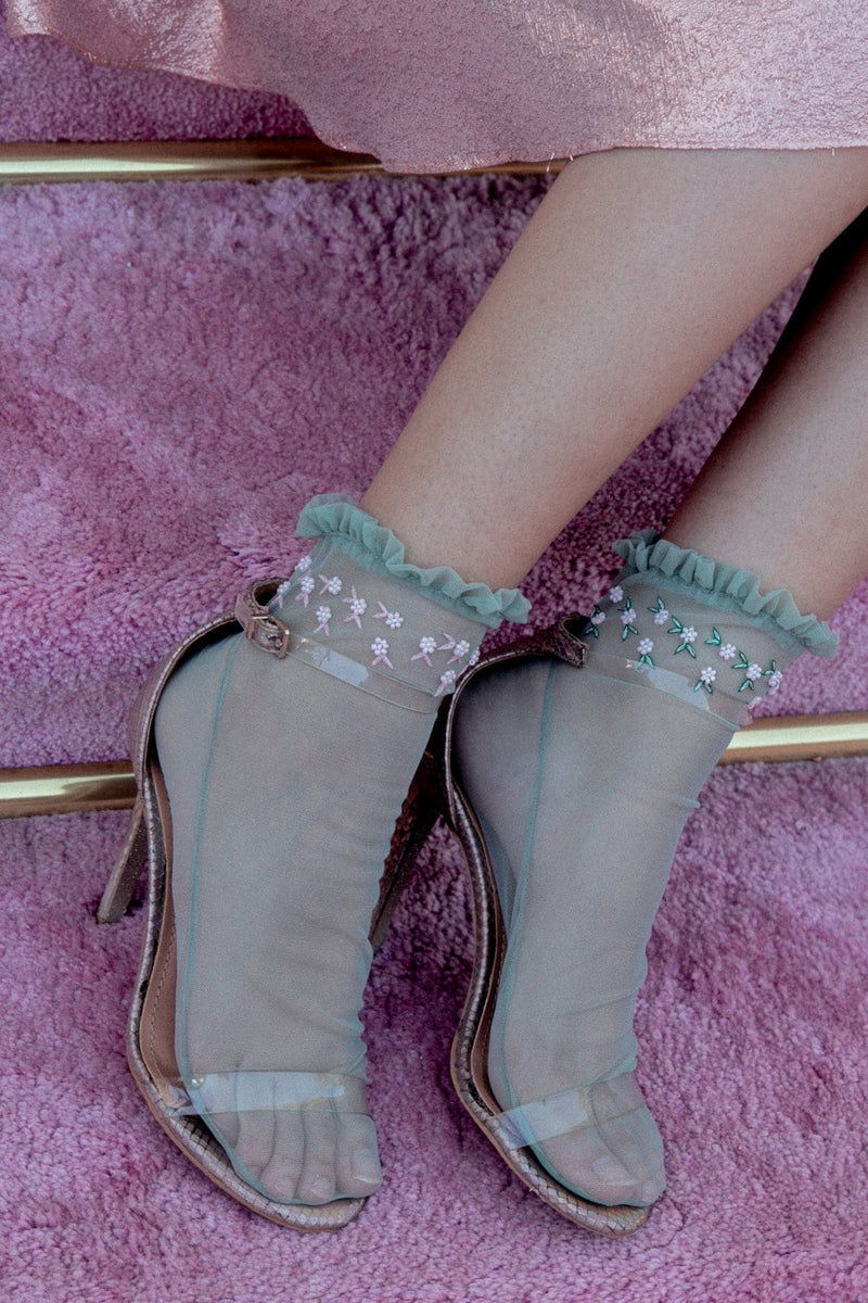 Green Tulle Ankle Socks With Beaded Flowers - Maison Orient