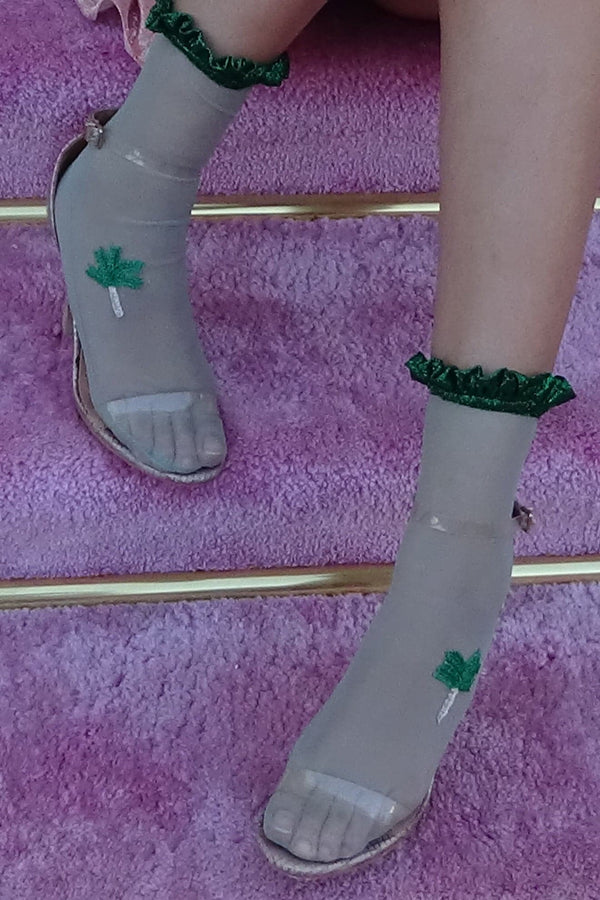 Green Tulle Socks With Palm Tree And Glitter Ruffles - Maison Orient