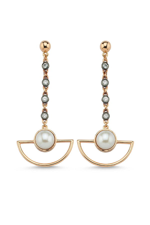 Half Moon Chain Earrings Single - Maison Orient